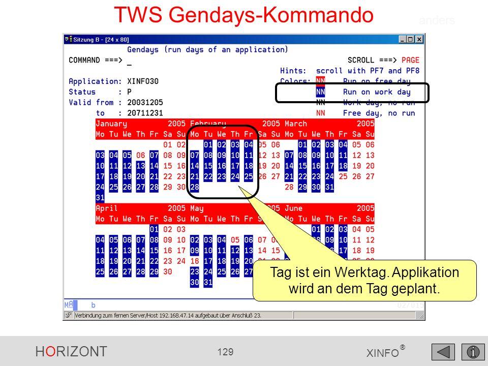HORIZONT 129 XINFO ® TWS Gendays-Kommando Tag ist ein Werktag. Applikation wird an dem Tag geplant. anders
