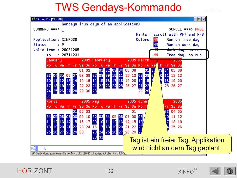 HORIZONT 132 XINFO ® TWS Gendays-Kommando Tag ist ein freier Tag. Applikation wird nicht an dem Tag geplant. anders