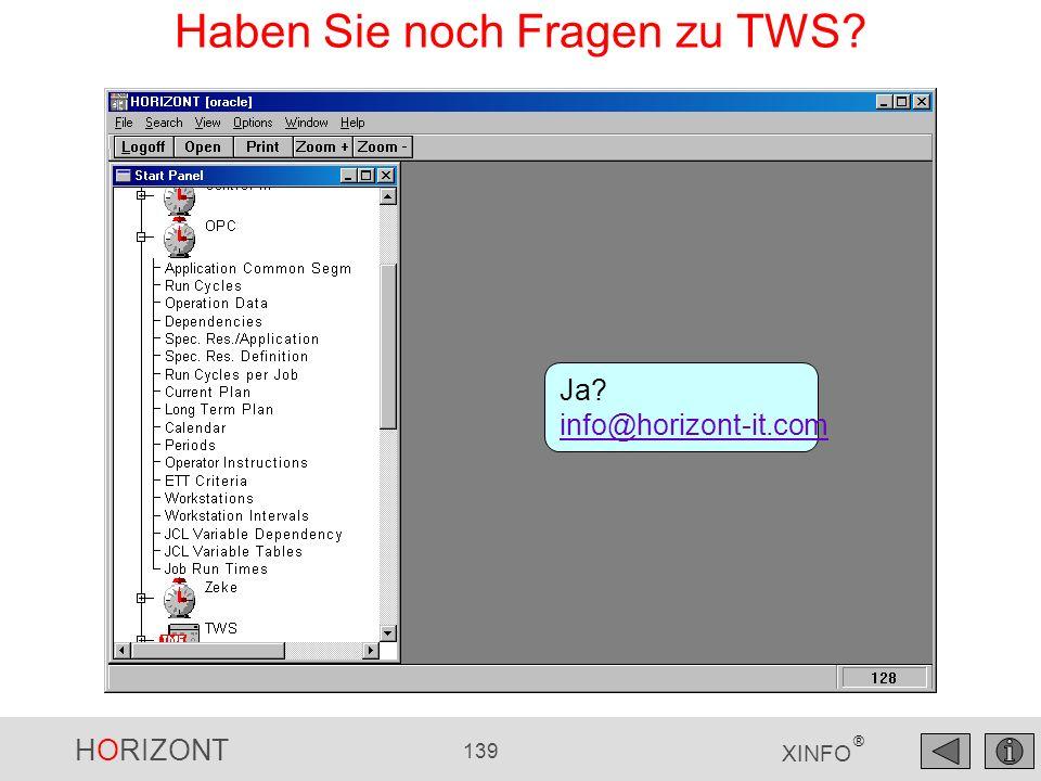 HORIZONT 139 XINFO ® Haben Sie noch Fragen zu TWS? Ja? info@horizont-it.com