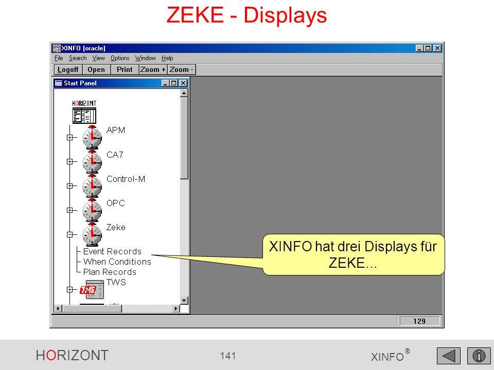 HORIZONT 141 XINFO ® ZEKE - Displays XINFO hat drei Displays für ZEKE...