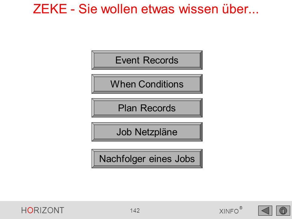 HORIZONT 142 XINFO ® Event Records When Conditions ZEKE - Sie wollen etwas wissen über... Plan Records Job Netzpläne Nachfolger eines Jobs