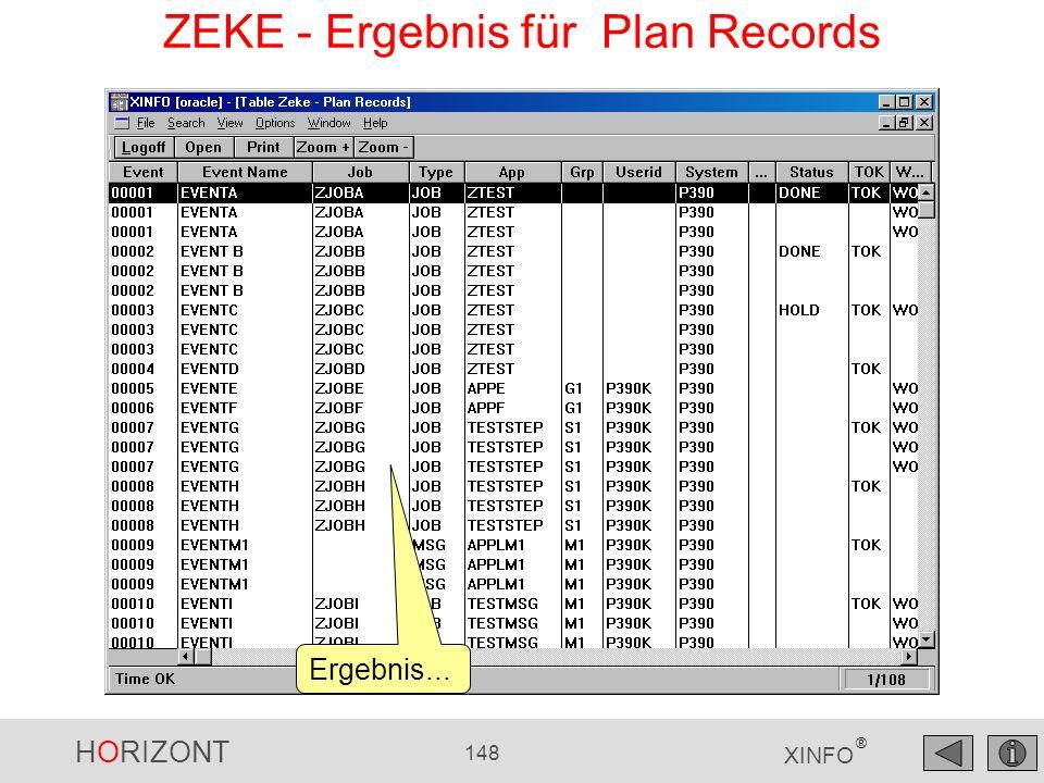 HORIZONT 148 XINFO ® ZEKE - Ergebnis für Plan Records Ergebnis...