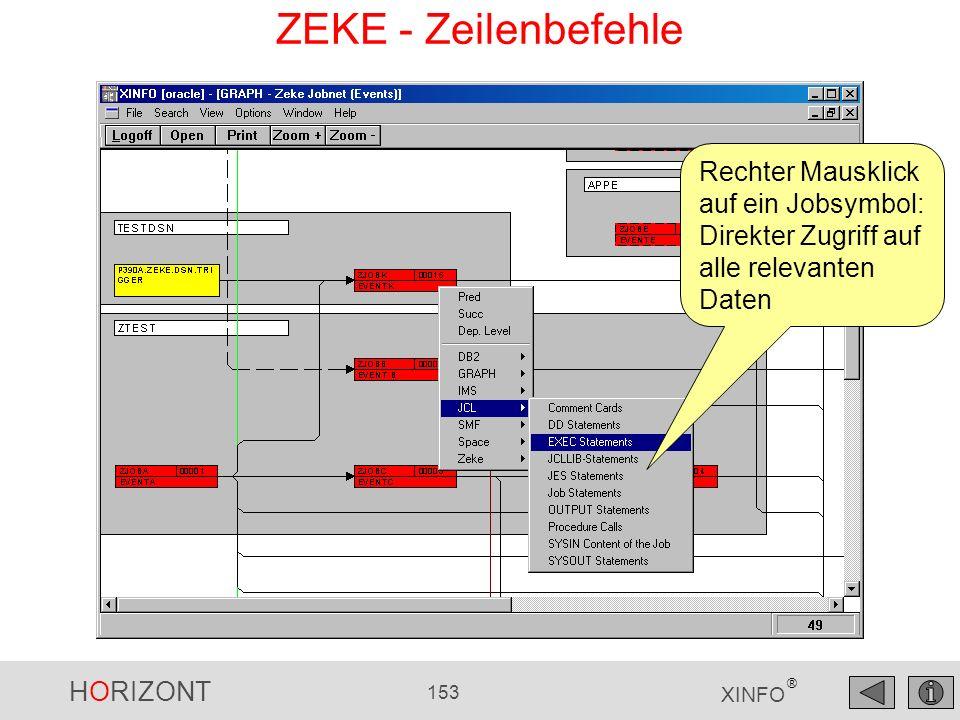 HORIZONT 153 XINFO ® Rechter Mausklick auf ein Jobsymbol: Direkter Zugriff auf alle relevanten Daten ZEKE - Zeilenbefehle