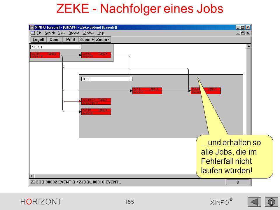 HORIZONT 155 XINFO ®...und erhalten so alle Jobs, die im Fehlerfall nicht laufen würden! ZEKE - Nachfolger eines Jobs