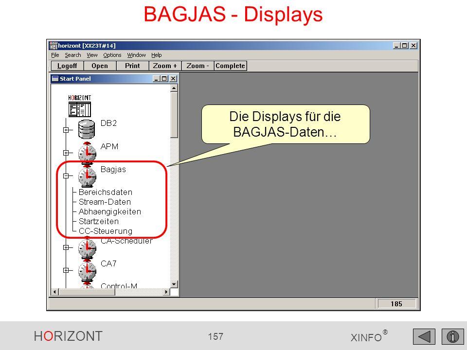 HORIZONT 157 XINFO ® BAGJAS - Displays Die Displays für die BAGJAS-Daten…