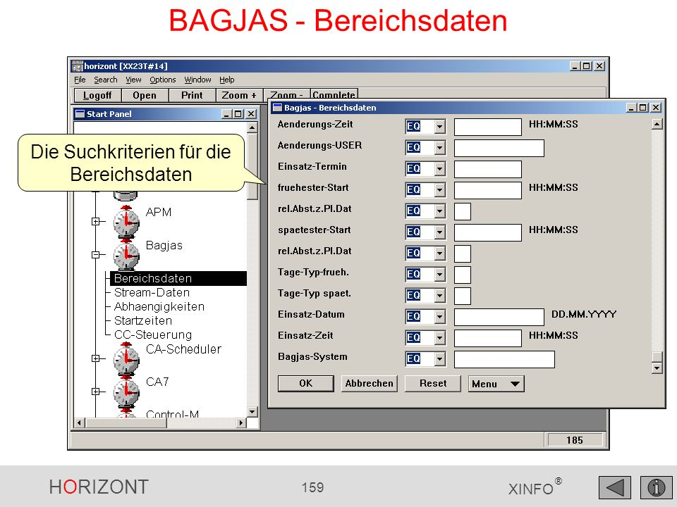 HORIZONT 159 XINFO ® BAGJAS - Bereichsdaten Die Suchkriterien für die Bereichsdaten