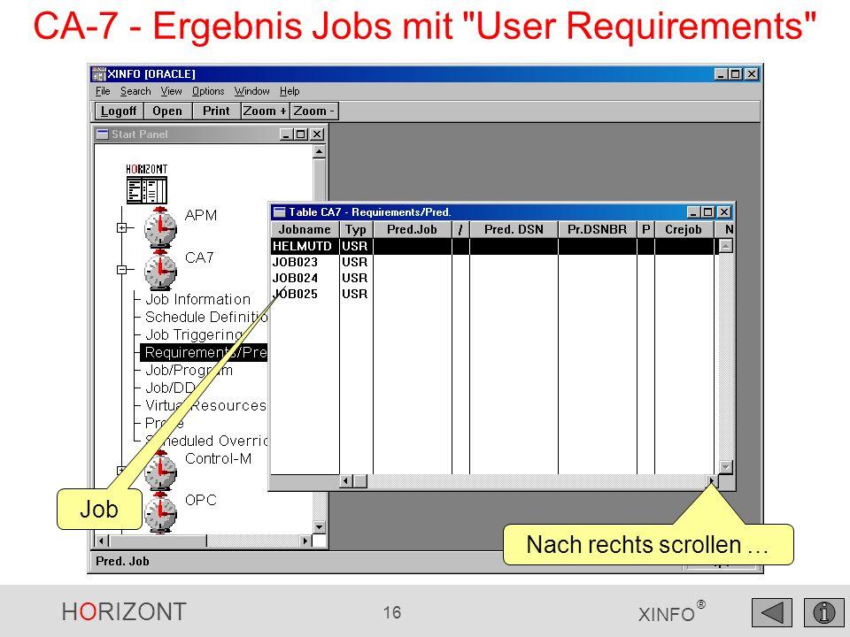 HORIZONT 16 XINFO ® Job Nach rechts scrollen … CA-7 - Ergebnis Jobs mit