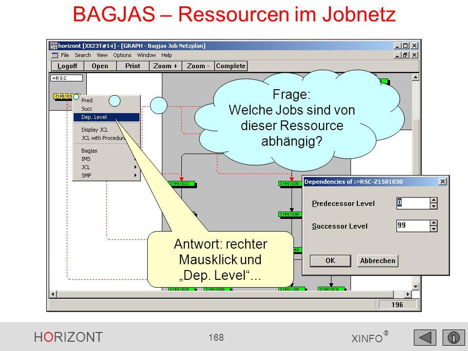 HORIZONT 168 XINFO ® BAGJAS – Ressourcen im Jobnetz Antwort: rechter Mausklick und Dep. Level... Frage: Welche Jobs sind von dieser Ressource abhängig