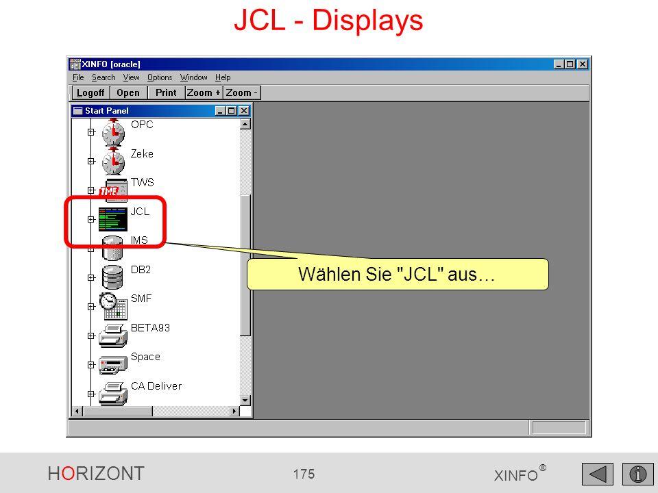 HORIZONT 175 XINFO ® JCL - Displays Wählen Sie