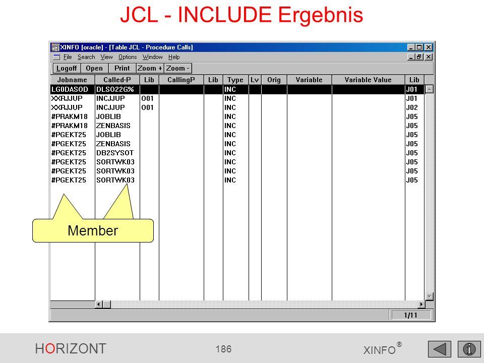 HORIZONT 186 XINFO ® Member JCL - INCLUDE Ergebnis