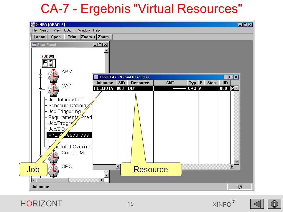HORIZONT 19 XINFO ® Job Resource CA-7 - Ergebnis Virtual Resources