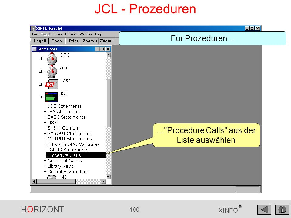 HORIZONT 190 XINFO ® JCL - Prozeduren...
