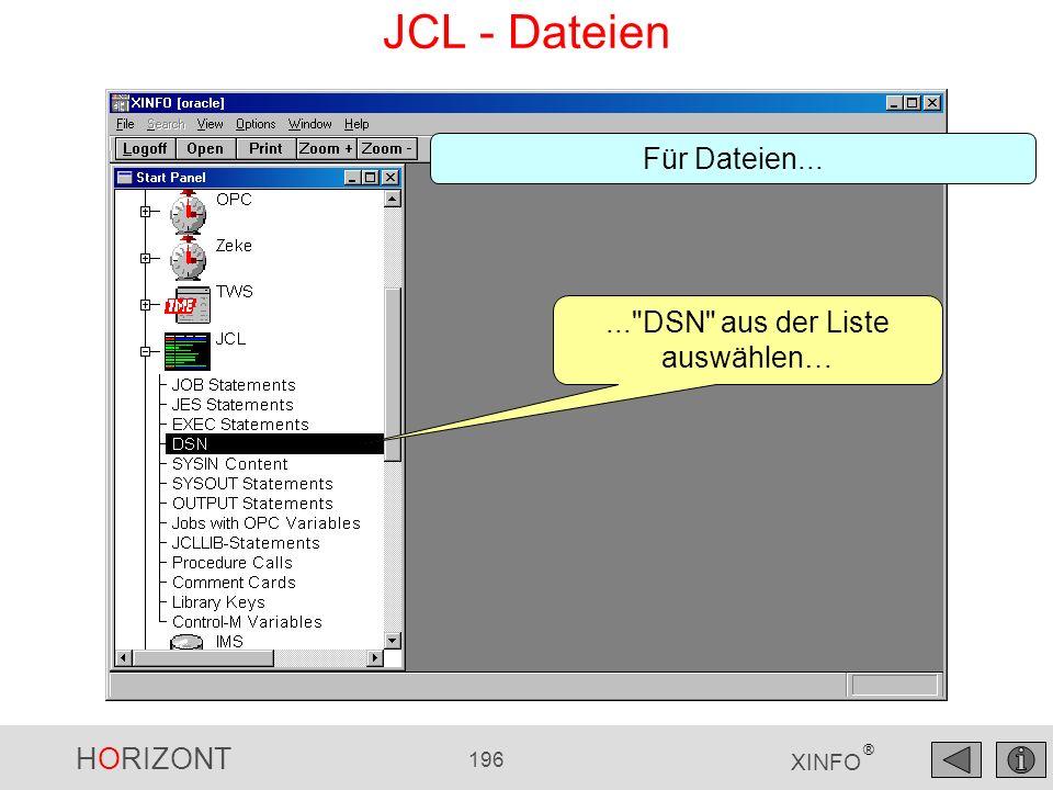 HORIZONT 196 XINFO ® JCL - Dateien...