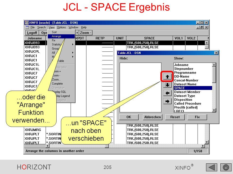 HORIZONT 205 XINFO ® JCL - SPACE Ergebnis...oder die
