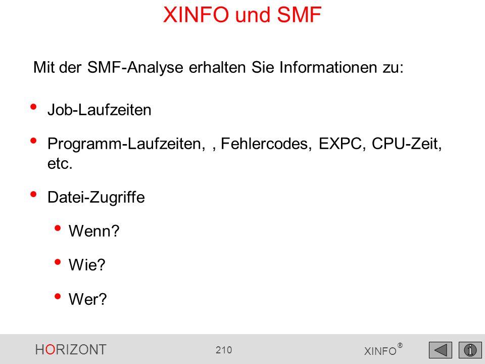 HORIZONT 210 XINFO ® Mit der SMF-Analyse erhalten Sie Informationen zu: Job-Laufzeiten Programm-Laufzeiten,, Fehlercodes, EXPC, CPU-Zeit, etc. Datei-Z