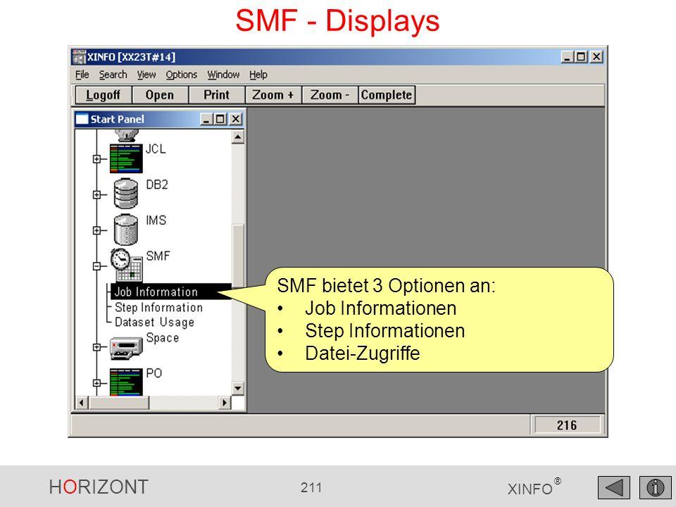 HORIZONT 211 XINFO ® SMF - Displays SMF bietet 3 Optionen an: Job Informationen Step Informationen Datei-Zugriffe