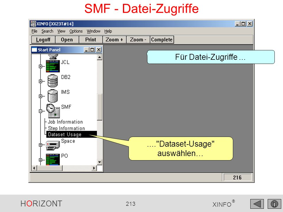 HORIZONT 213 XINFO ® SMF - Datei-Zugriffe....