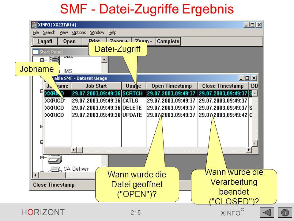 HORIZONT 215 XINFO ® Datei-Zugriff Wann wurde die Verarbeitung beendet (