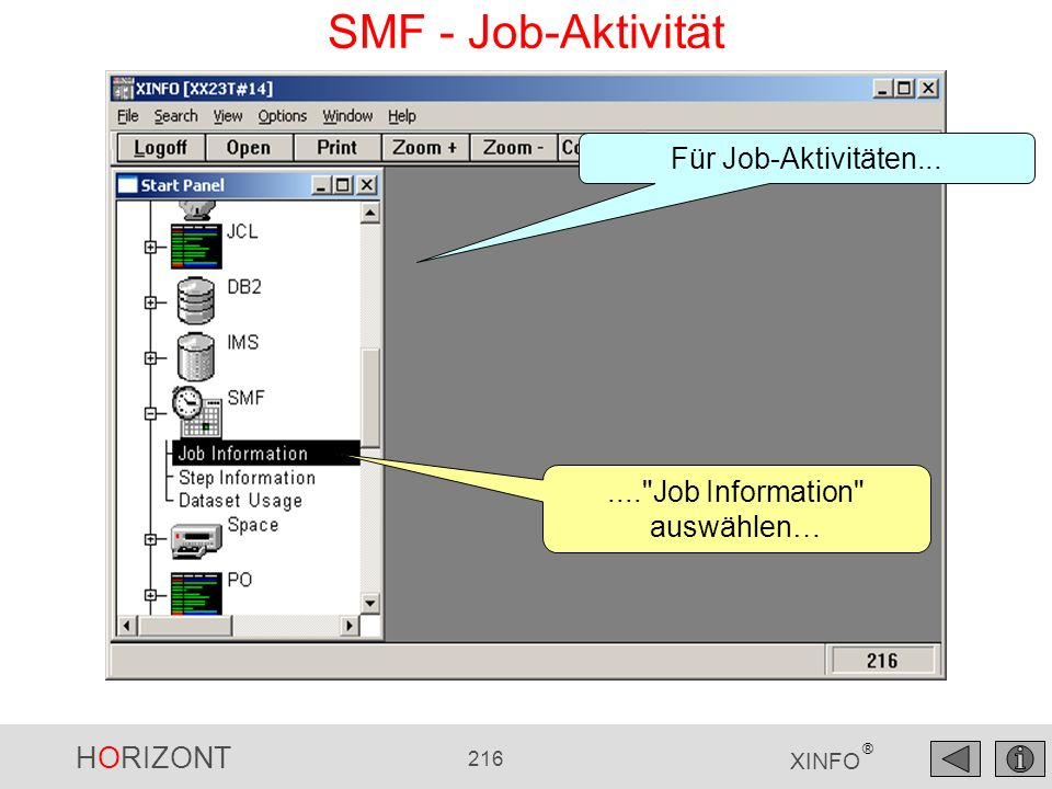 HORIZONT 216 XINFO ® SMF - Job-Aktivität....