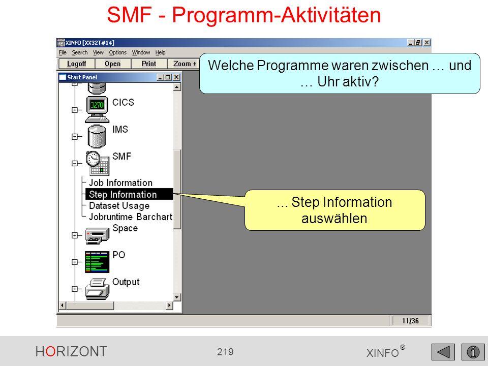 HORIZONT 219 XINFO ® SMF - Programm-Aktivitäten... Step Information auswählen Welche Programme waren zwischen … und … Uhr aktiv?