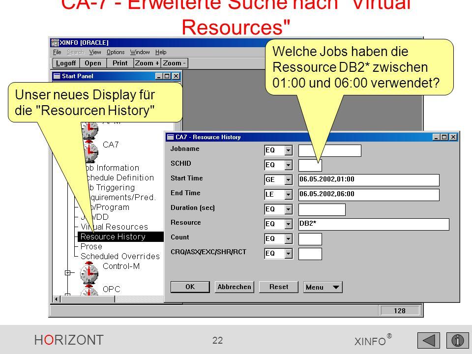 HORIZONT 22 XINFO ® CA-7 - Erweiterte Suche nach