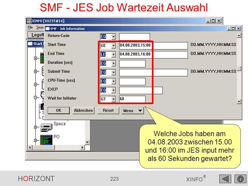 HORIZONT 223 XINFO ® SMF - JES Job Wartezeit Auswahl Welche Jobs haben am 04.08.2003 zwischen 15.00 und 16:00 im JES input mehr als 60 Sekunden gewart