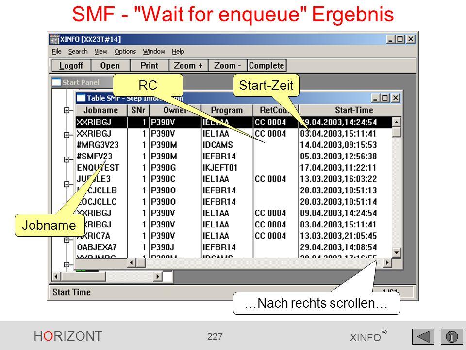 HORIZONT 227 XINFO ® Jobname Start-ZeitRC …Nach rechts scrollen… SMF -