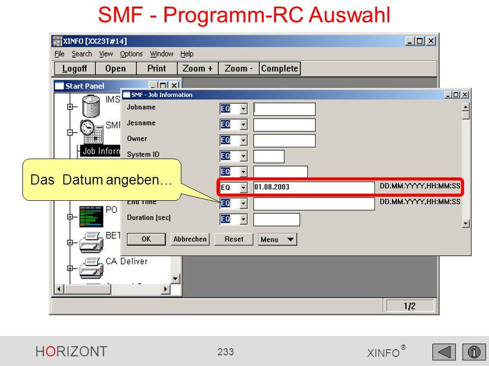 HORIZONT 233 XINFO ® SMF - Programm-RC Auswahl Das Datum angeben…
