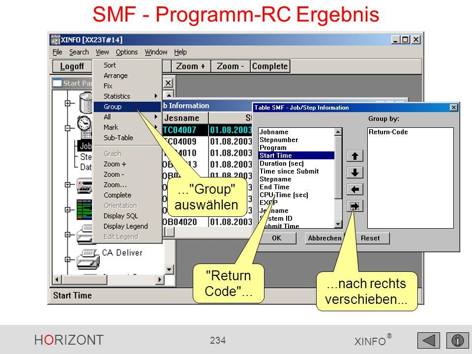 HORIZONT 234 XINFO ® SMF - Programm-RC Ergebnis...nach rechts verschieben...