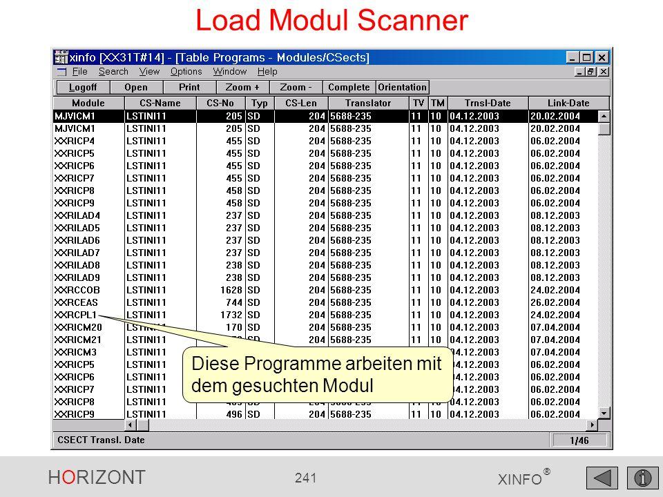 HORIZONT 241 XINFO ® Load Modul Scanner Diese Programme arbeiten mit dem gesuchten Modul