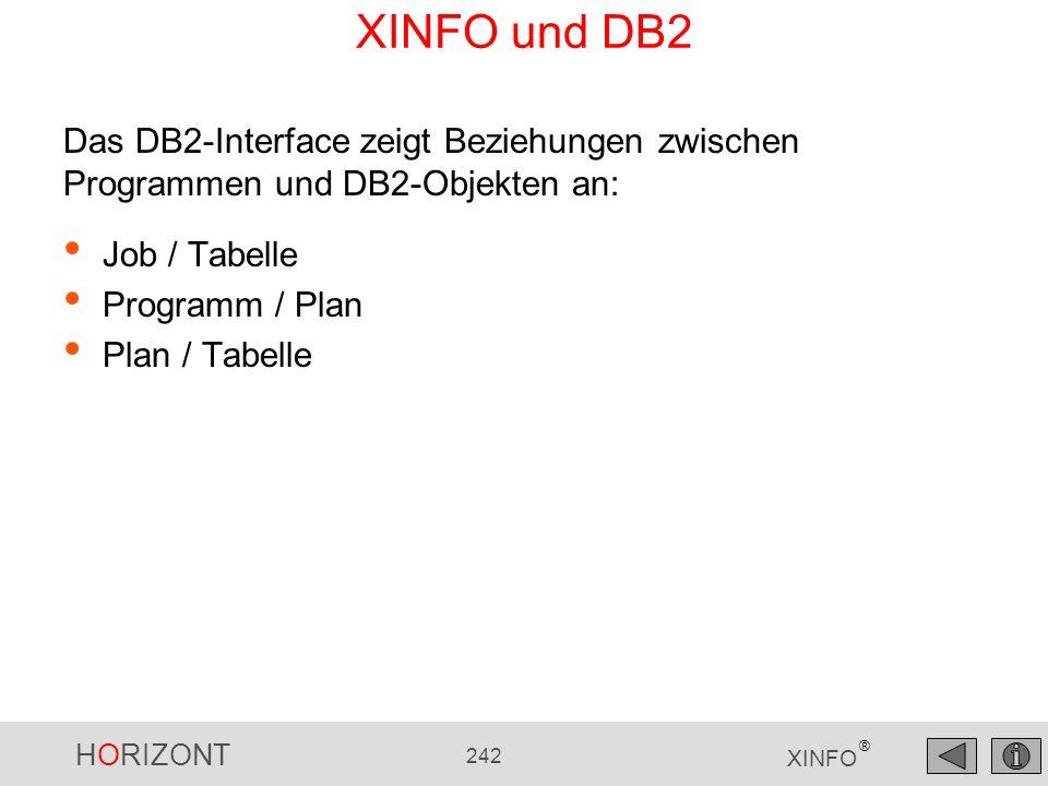 HORIZONT 242 XINFO ® XINFO und DB2 Job / Tabelle Programm / Plan Plan / Tabelle Das DB2-Interface zeigt Beziehungen zwischen Programmen und DB2-Objekt