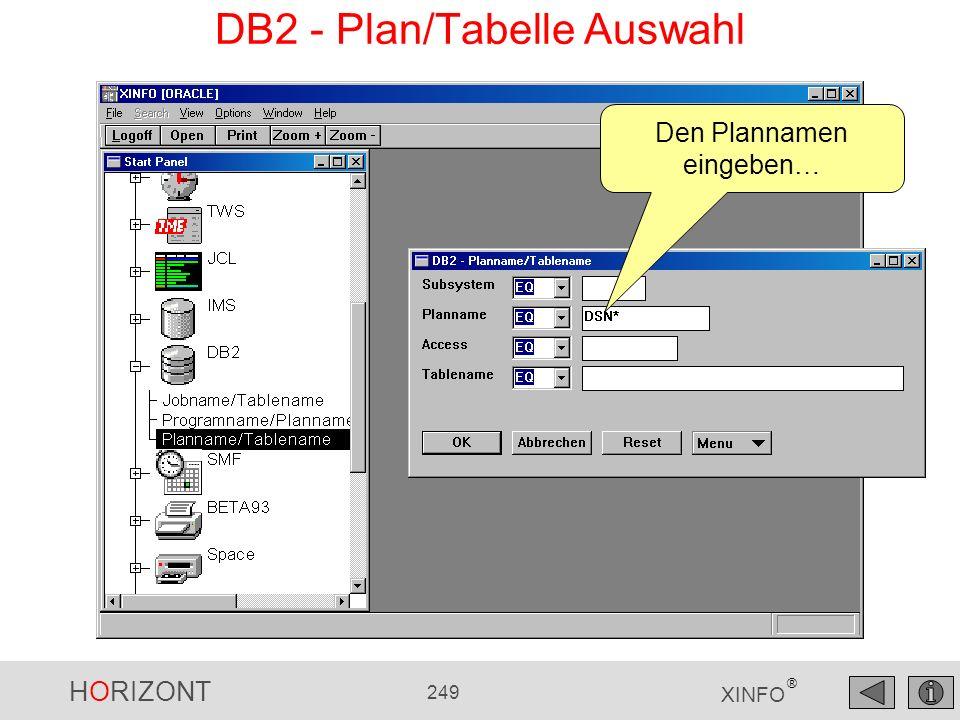 HORIZONT 249 XINFO ® DB2 - Plan/Tabelle Auswahl Den Plannamen eingeben…