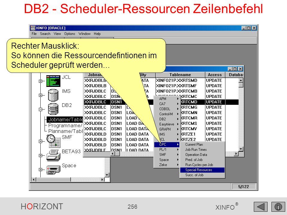 HORIZONT 256 XINFO ® Rechter Mausklick: So können die Ressourcendefintionen im Scheduler geprüft werden... DB2 - Scheduler-Ressourcen Zeilenbefehl