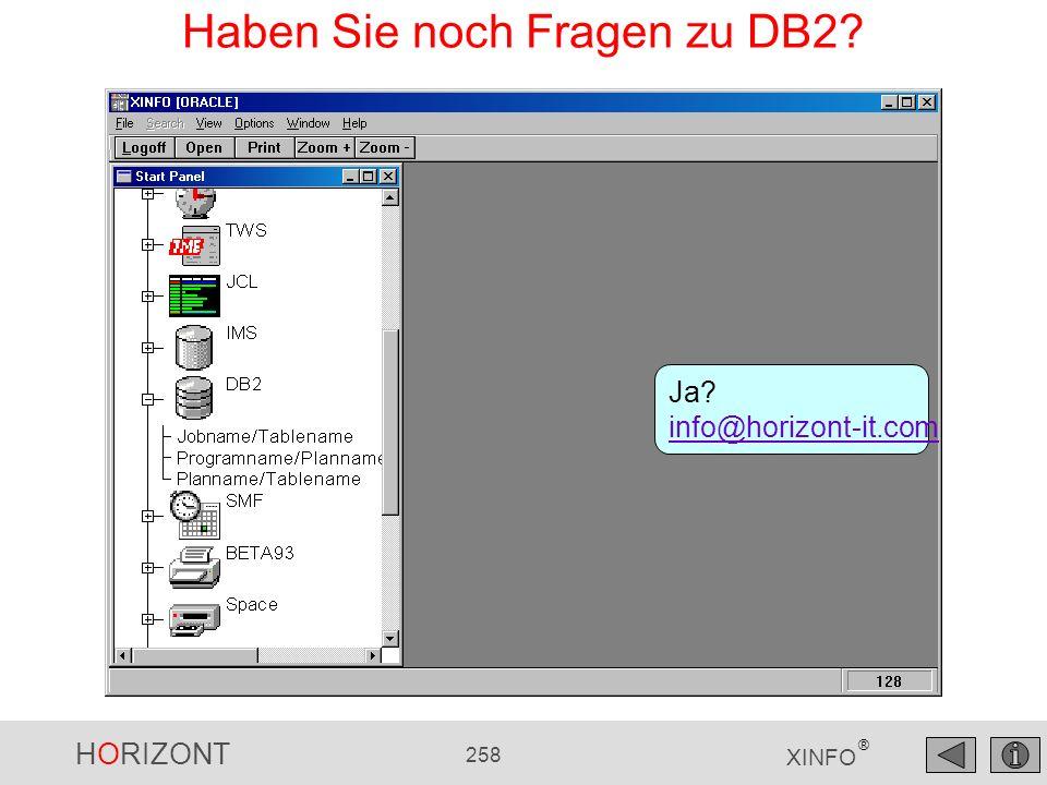 HORIZONT 258 XINFO ® Haben Sie noch Fragen zu DB2? Ja? info@horizont-it.com