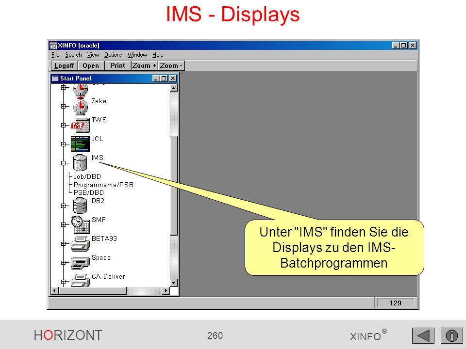 HORIZONT 260 XINFO ® IMS - Displays Unter