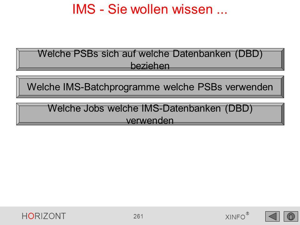 HORIZONT 261 XINFO ® IMS - Sie wollen wissen... Welche PSBs sich auf welche Datenbanken (DBD) beziehen Welche IMS-Batchprogramme welche PSBs verwenden