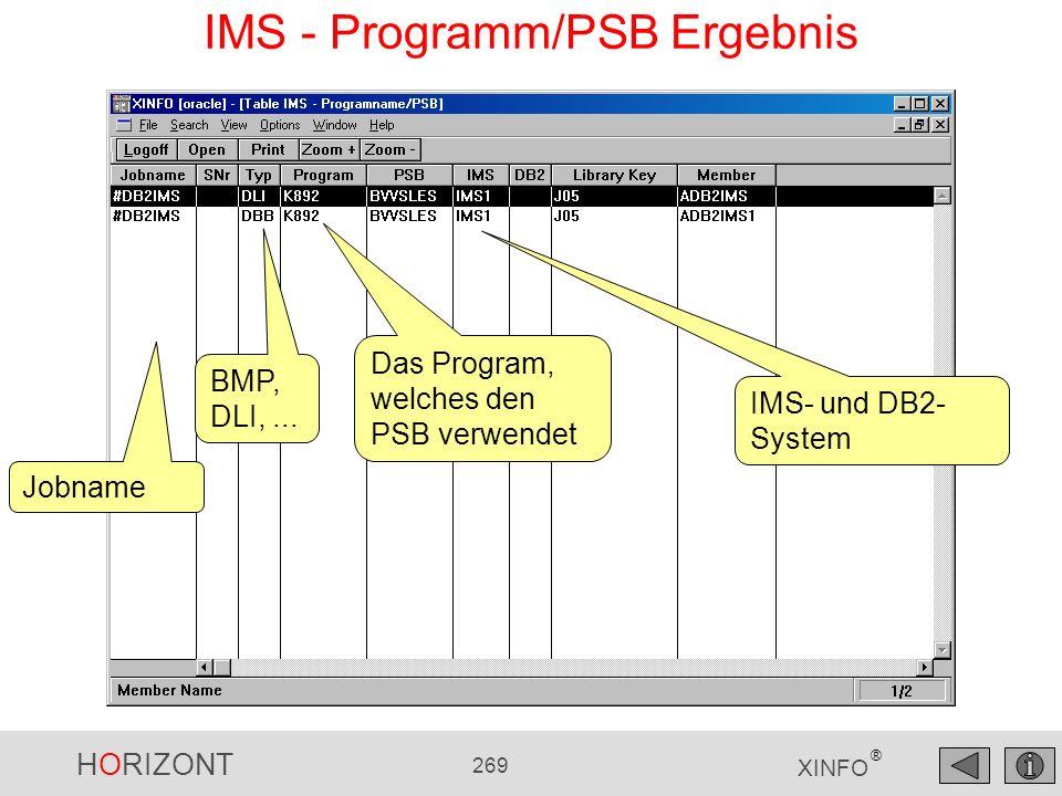 HORIZONT 269 XINFO ® IMS - Programm/PSB Ergebnis IMS- und DB2- System Jobname BMP, DLI,... Das Program, welches den PSB verwendet