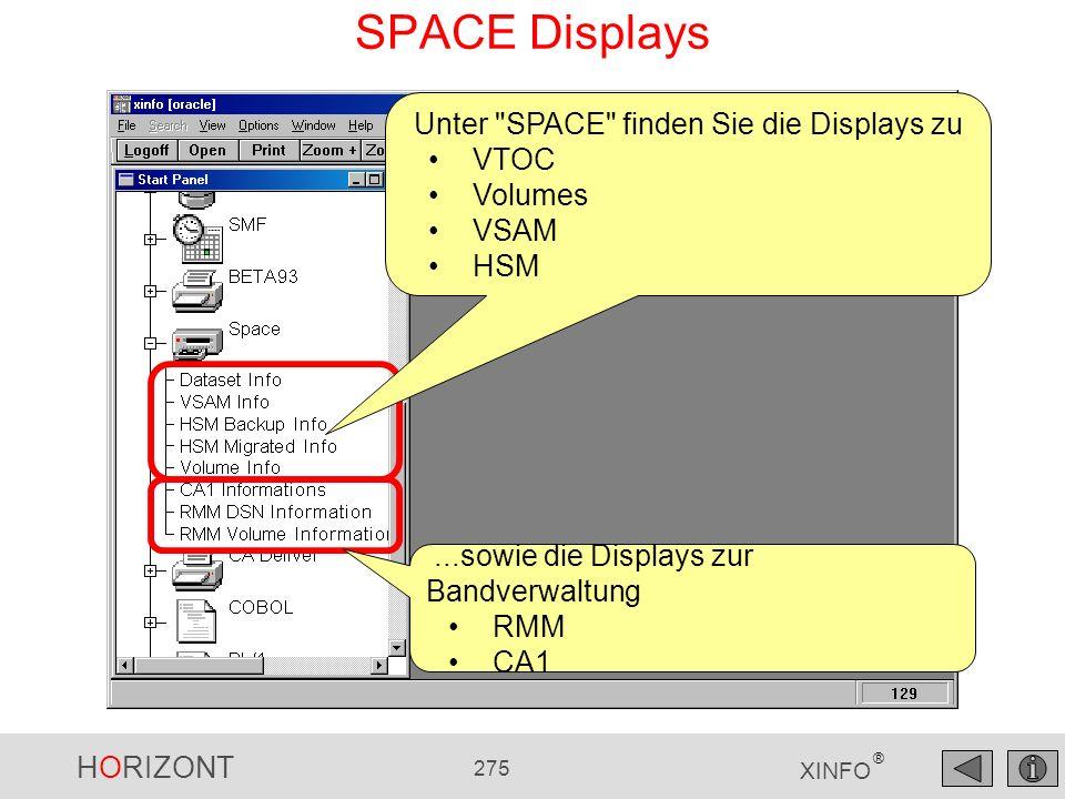 HORIZONT 275 XINFO ® SPACE Displays Unter