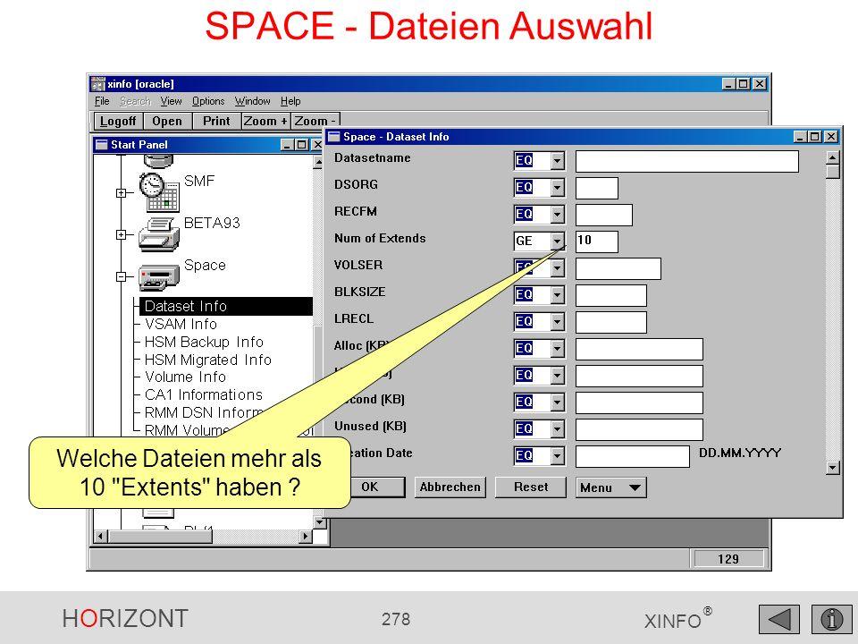 HORIZONT 278 XINFO ® Welche Dateien mehr als 10