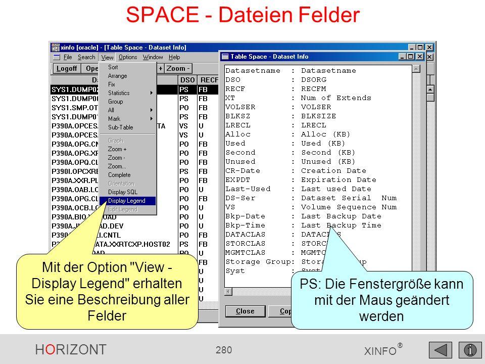 HORIZONT 280 XINFO ® SPACE - Dateien Felder Mit der Option