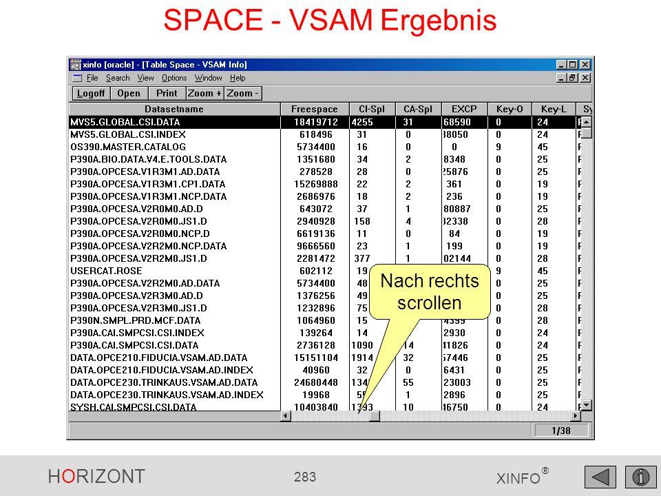 HORIZONT 283 XINFO ® SPACE - VSAM Ergebnis Nach rechts scrollen