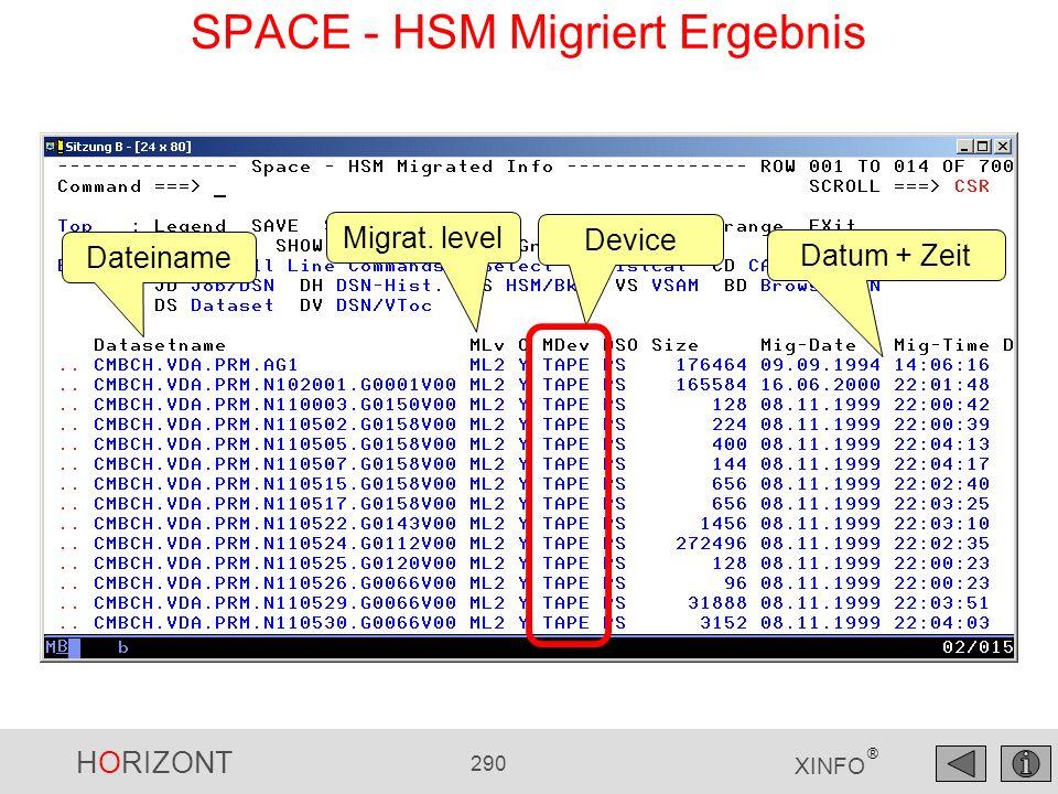 HORIZONT 290 XINFO ® Dateiname Migrat. level Device Datum + Zeit SPACE - HSM Migriert Ergebnis