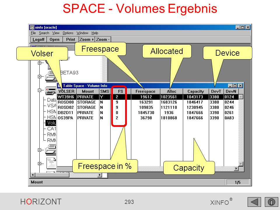 HORIZONT 293 XINFO ® SPACE - Volumes Ergebnis Volser Freespace Freespace in % Allocated Capacity Device