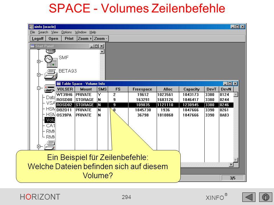 HORIZONT 294 XINFO ® SPACE - Volumes Zeilenbefehle Ein Beispiel für Zeilenbefehle: Welche Dateien befinden sich auf diesem Volume?