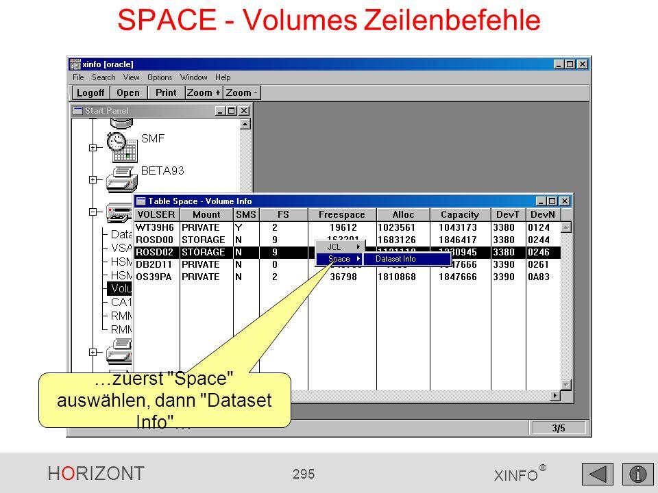 HORIZONT 295 XINFO ® SPACE - Volumes Zeilenbefehle …zuerst