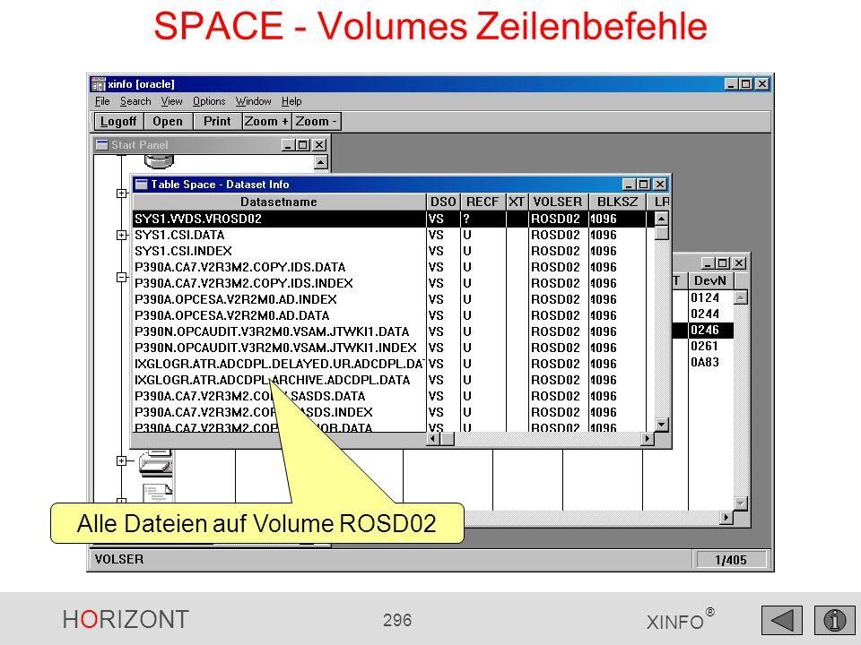 HORIZONT 296 XINFO ® SPACE - Volumes Zeilenbefehle Alle Dateien auf Volume ROSD02
