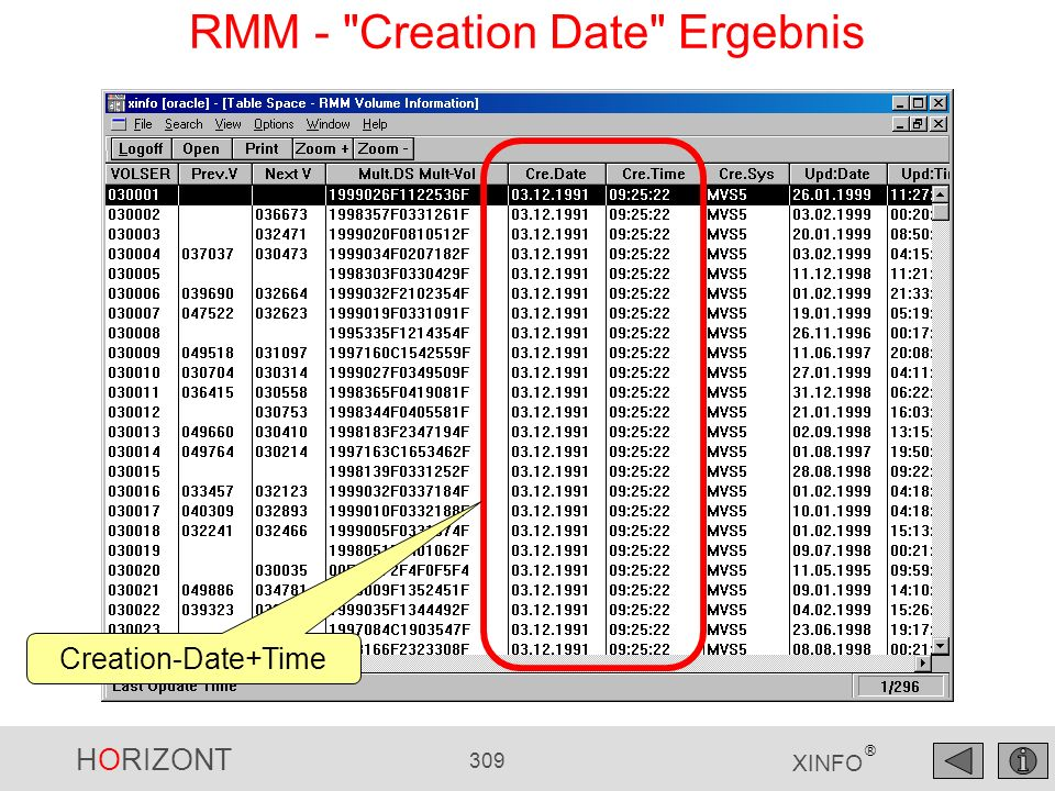 HORIZONT 309 XINFO ® RMM - Creation Date Ergebnis Creation-Date+Time