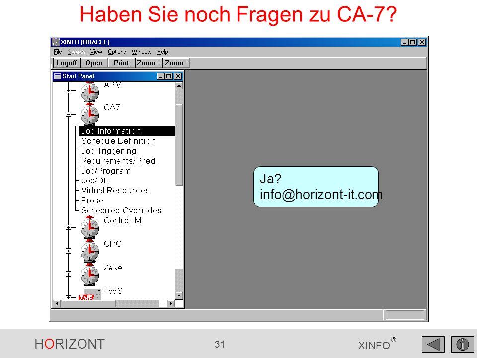 HORIZONT 31 XINFO ® Haben Sie noch Fragen zu CA-7? Ja? info@horizont-it.com