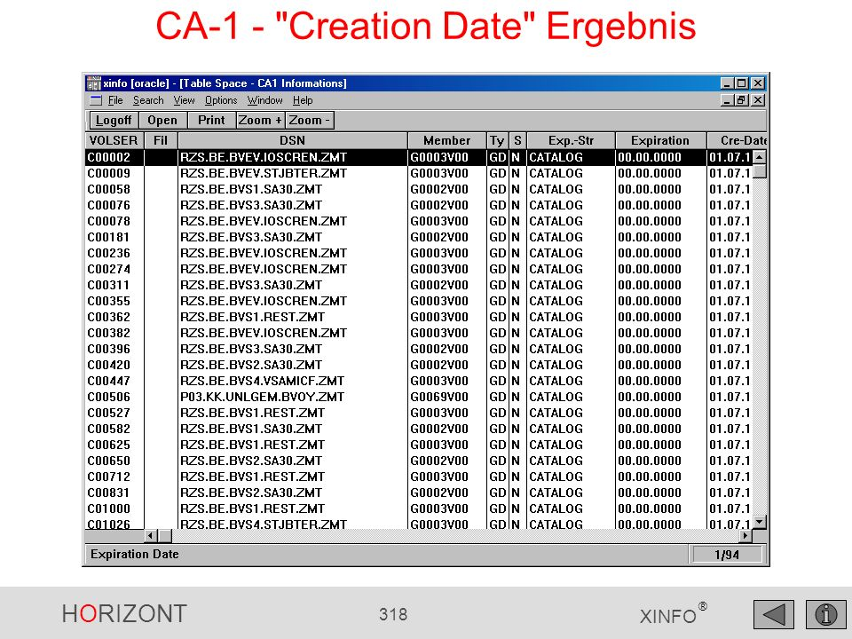 HORIZONT 318 XINFO ® CA-1 -