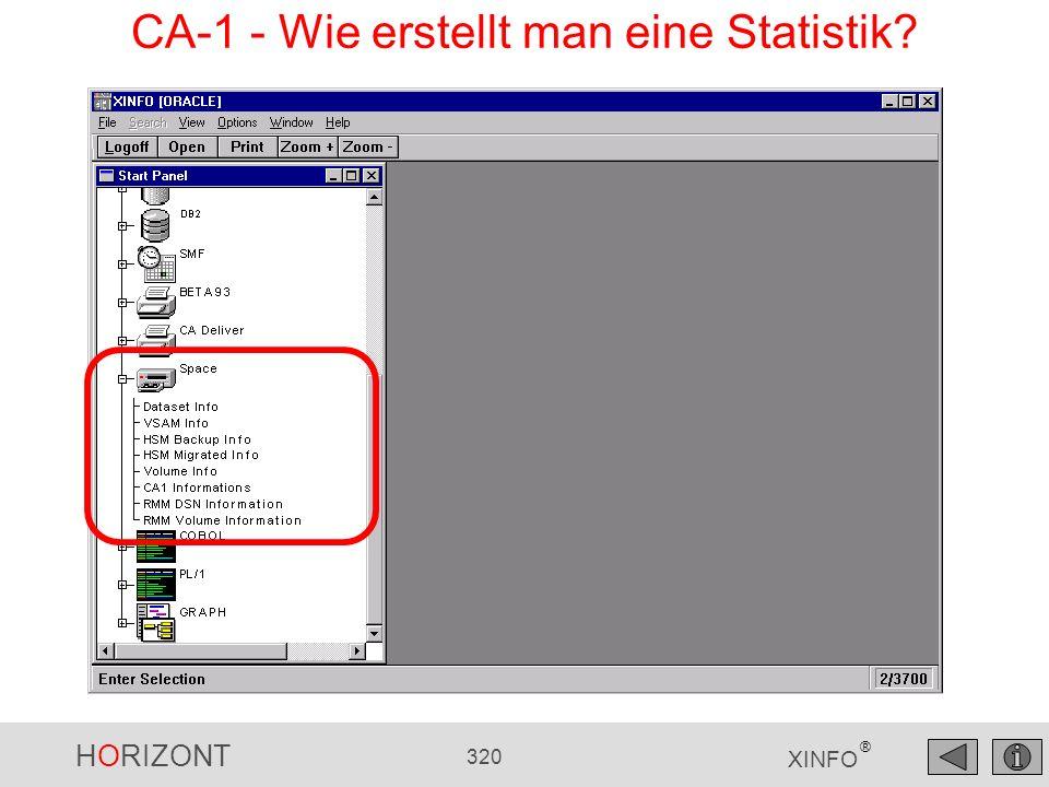 HORIZONT 320 XINFO ® CA-1 - Wie erstellt man eine Statistik?